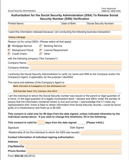 Form SSA-89